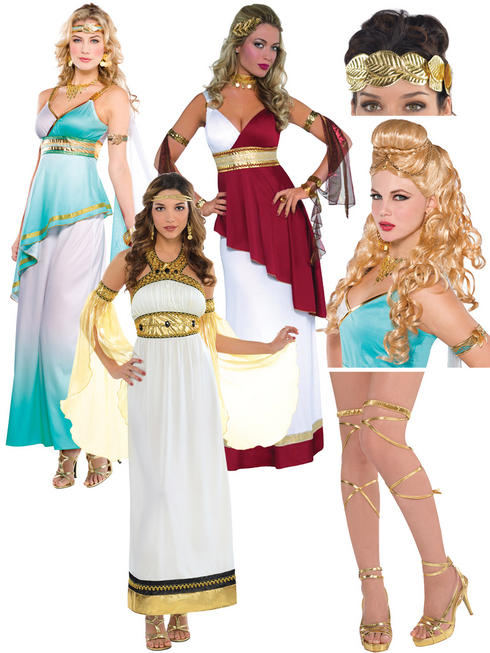 Ladies Imperial Empress Costume, Wig, Headband & Leg Wraps