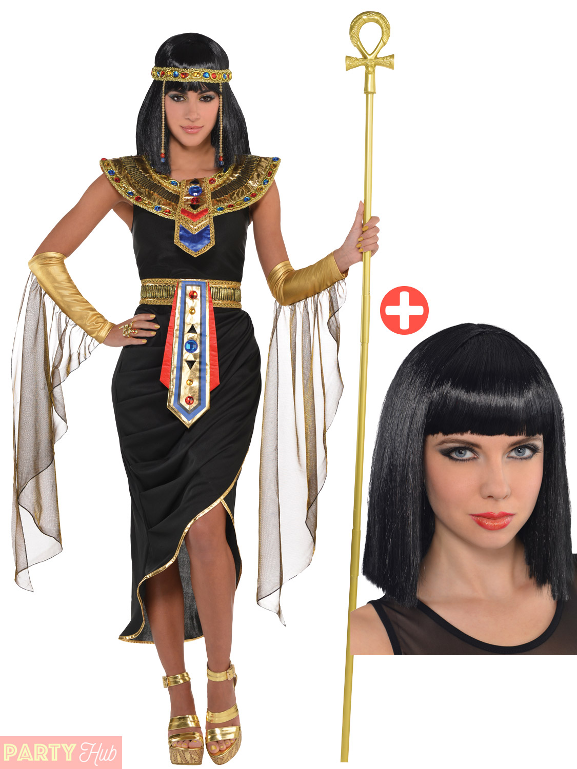 Adult-Cleopatra-Costume-Accessories-Egyptian-Queen-Goddess-Fancy-Dress-Ladies thumbnail 9