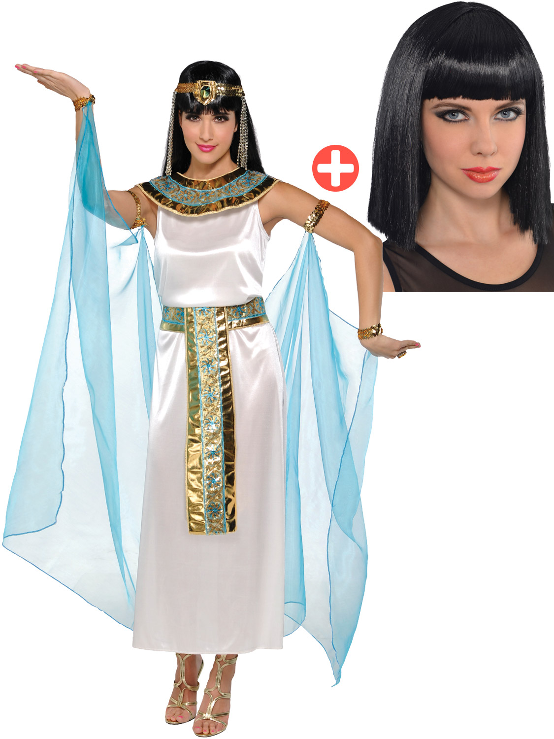 Adult-Cleopatra-Costume-Accessories-Egyptian-Queen-Goddess-Fancy-Dress-Ladies thumbnail 23