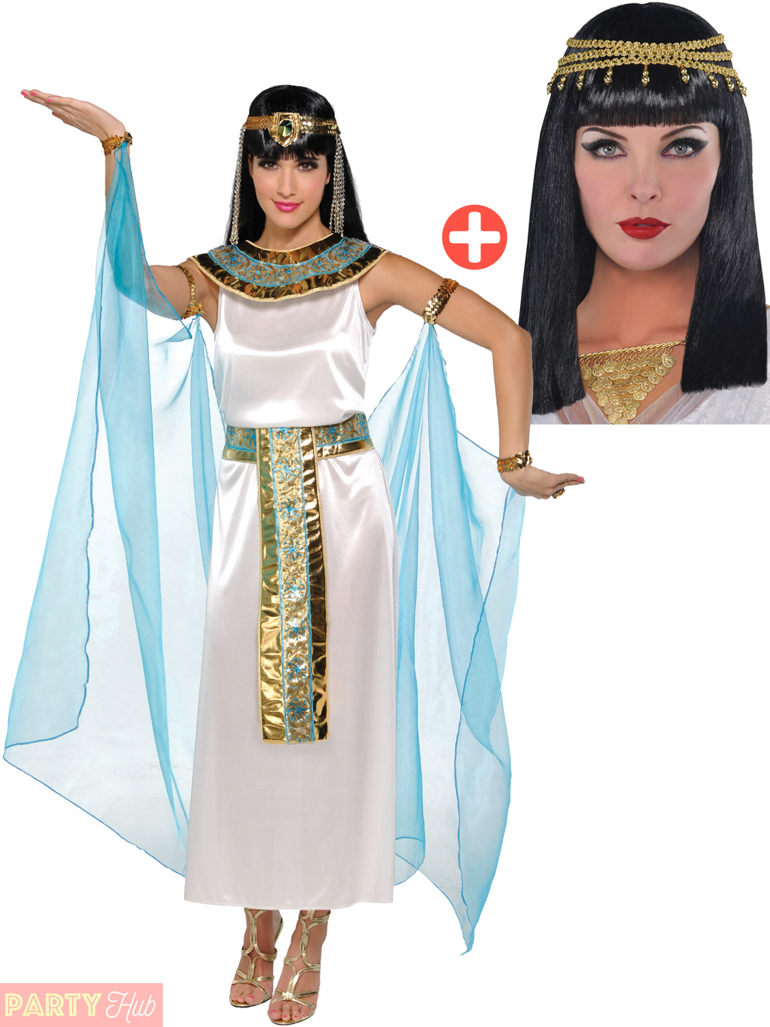 Adult-Cleopatra-Costume-Accessories-Egyptian-Queen-Goddess-Fancy-Dress-Ladies thumbnail 28