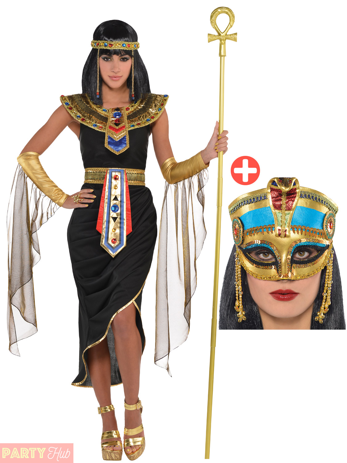 Adult-Cleopatra-Costume-Accessories-Egyptian-Queen-Goddess-Fancy-  sc 1 st  eBay & Adult Cleopatra Costume + Accessories Egyptian Queen Goddess Fancy ...
