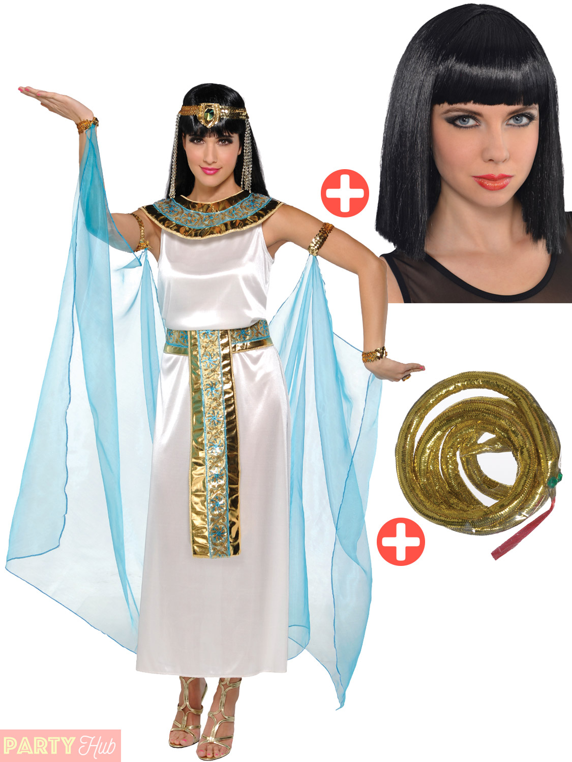 Adult-Cleopatra-Costume-Wig-Egyptian-Queen-Fancy-Dress-  sc 1 st  eBay & Adult Cleopatra Costume + Wig Egyptian Queen Fancy Dress Ladies ...