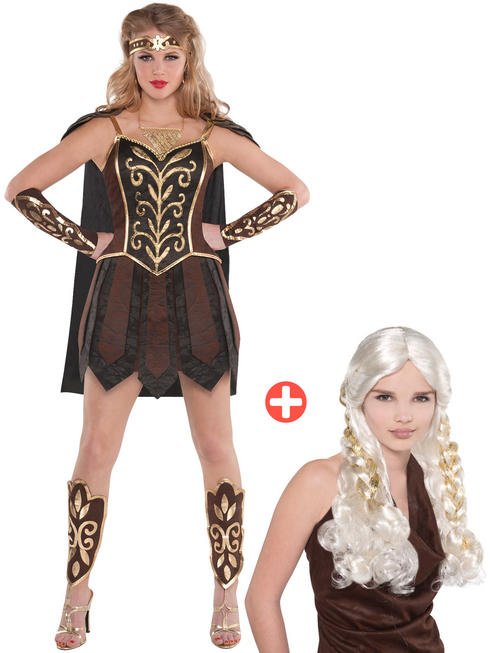 Ladies Warrior Princess Costume & Wig
