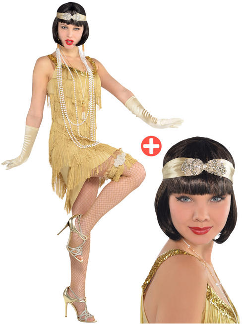 Ladies Champagne Flapper Costume & Headband