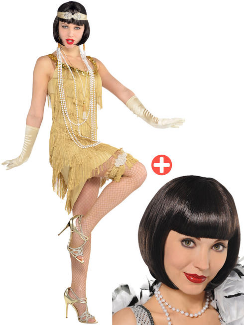 Ladies Champagne Flapper Costume & Wig