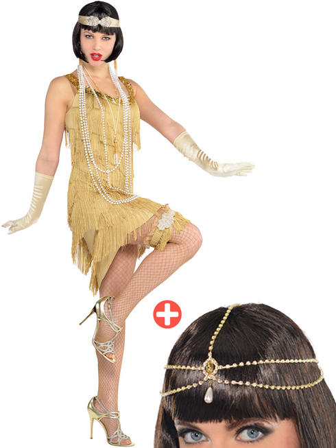 Ladies Champagne Flapper Costume & Hair Jewellery