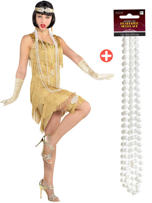 Ladies Champagne Flapper Costume & Pearl Necklace