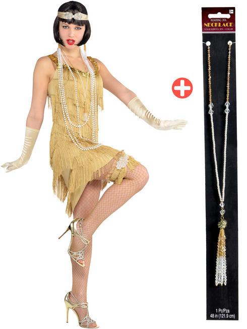 Ladies Champagne Flapper Costume & Crystal Necklace