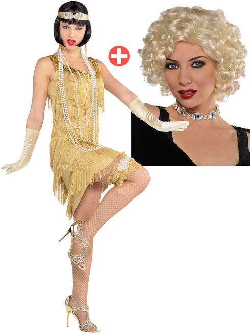 Ladies Champagne Flapper Costume & Roxie Wig