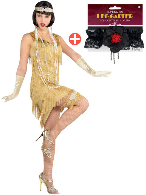 Ladies Champagne Flapper Costume & Leg Garter