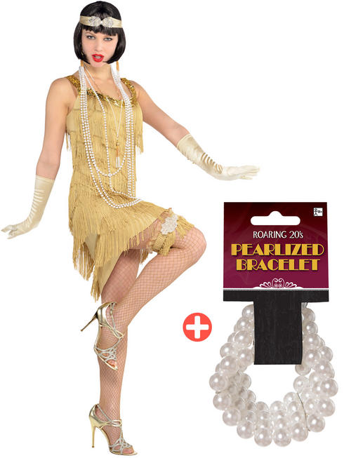 Ladies Champagne Flapper Costume & Pearl Bracelet