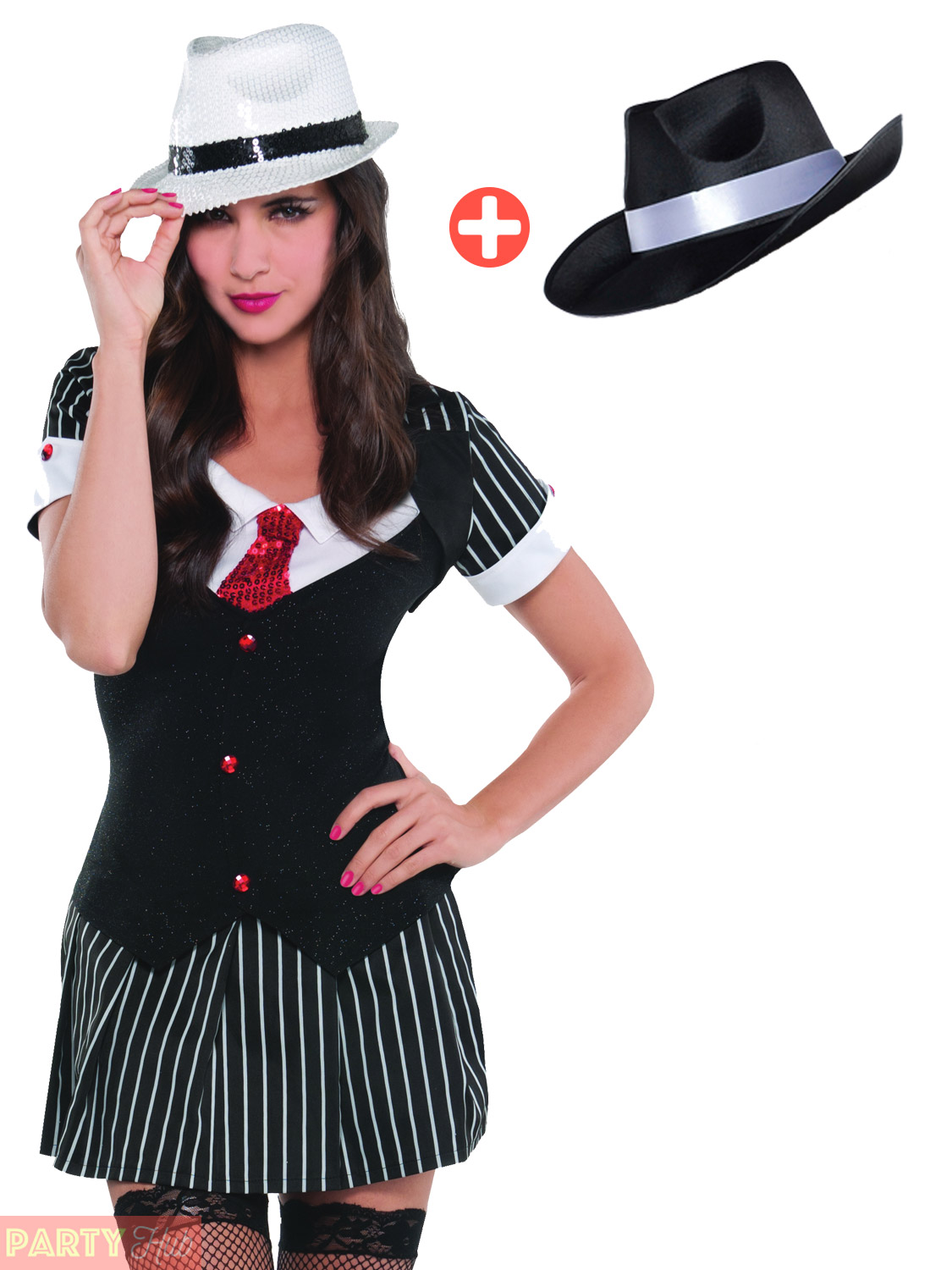 Ladies Gangster Moll Costume + Hat 20s Mobster Fancy Dress Pinstripe Suit Outfit | eBay