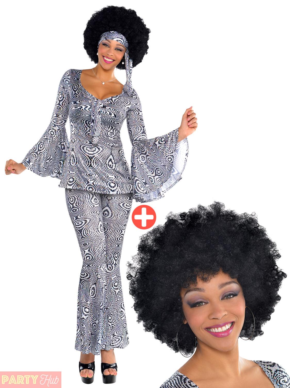 ladies 70s dancing queen costume  wig adult disco diva