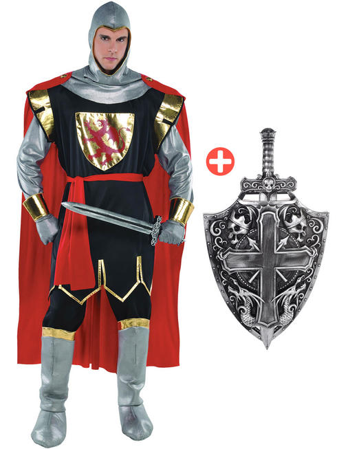 Men's Crusader Knight Costume, Shield & Sword