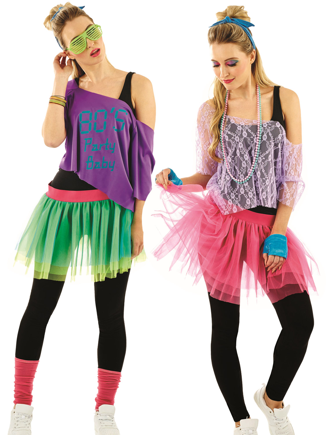 Ladies 1980s Tutu Kit Adults Neon Disco Fancy Dress Womens 80s Retro