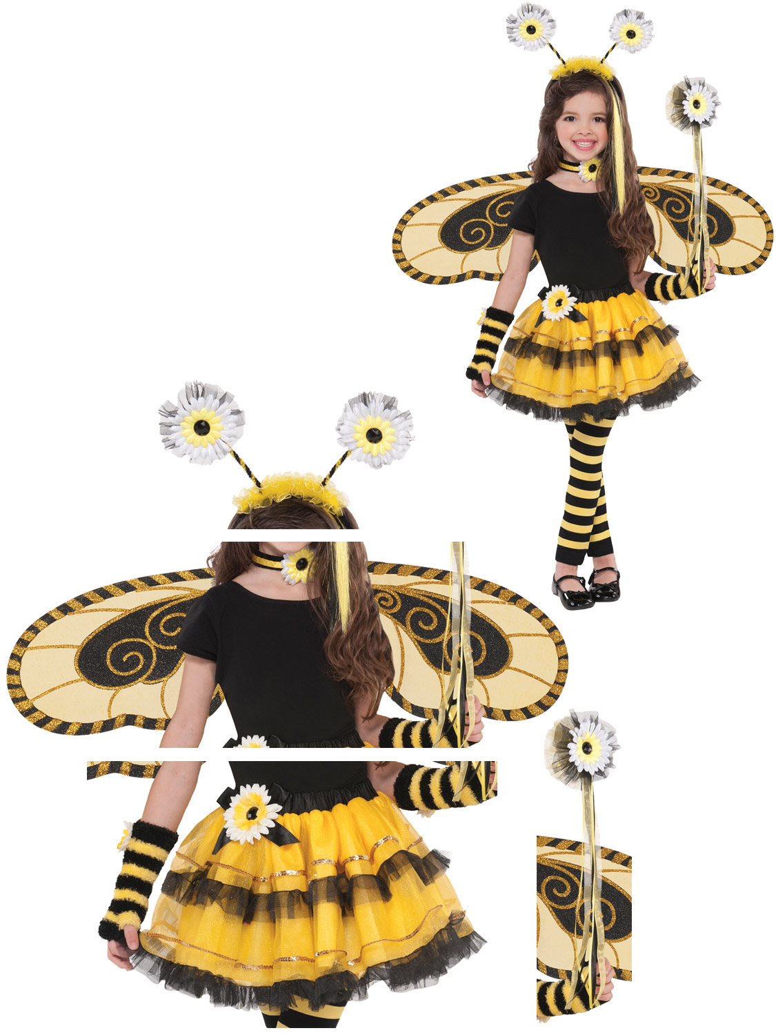 Transform your child into a stunning bumble bee queen with these bumble bee costume accessoriesu2026 Choose from the tutu wings headboppers or wand or put it ...  sc 1 st  eBay & Girls Bumble Bee Fairy Costume Childs Tutu Wings Headbopper Wand ...