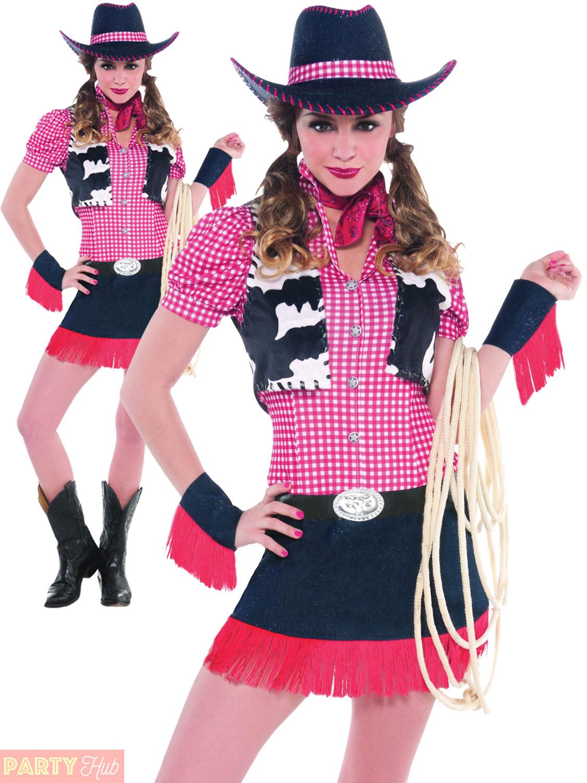 Ladies-Rawhide-Cowgirl-Costume-Adults-Women-Wild-West-  sc 1 st  eBay & Ladies Rawhide Cowgirl Costume Adults Women Wild West Fancy Dress ...