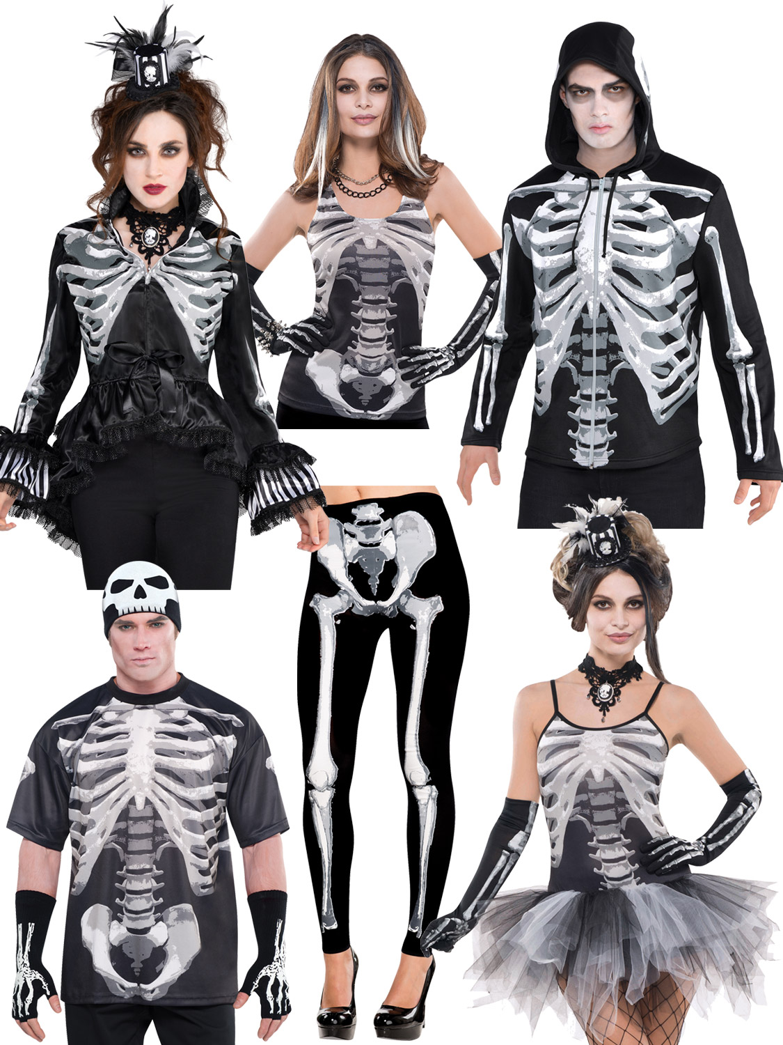 adults skeleton fancy dress costume mens ladies halloween outfit