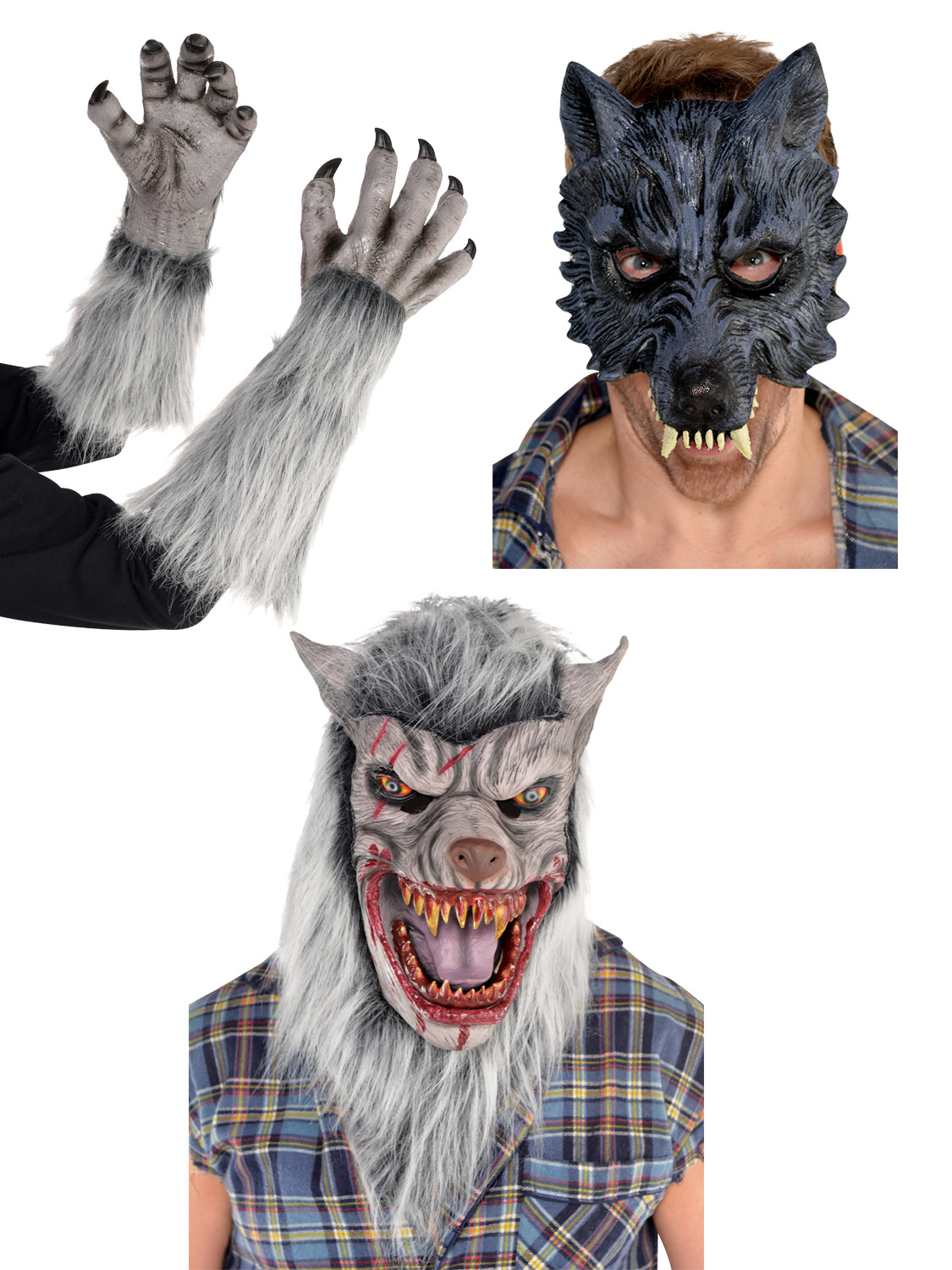 Werewolf fancy dress wolf mask gloves latex mens teen adult transform yourself into a werewolf with this great fancy dress costume accessories ideal for any halloween party or event solutioingenieria Choice Image