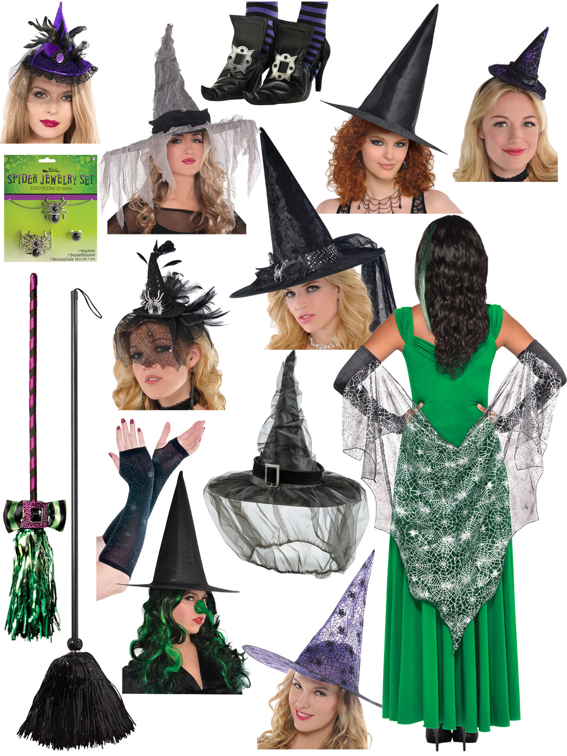 Ladies Green Siren Wig Adult Halloween Witch Vampire Fancy Dress Accessory Women