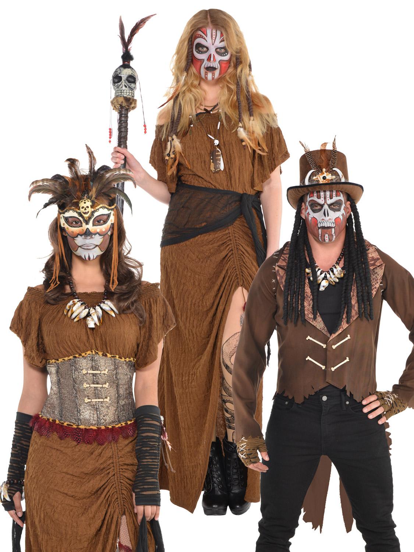Ladies Mens Witch Doctor Voodoo Man Halloween Fancy Dress ...