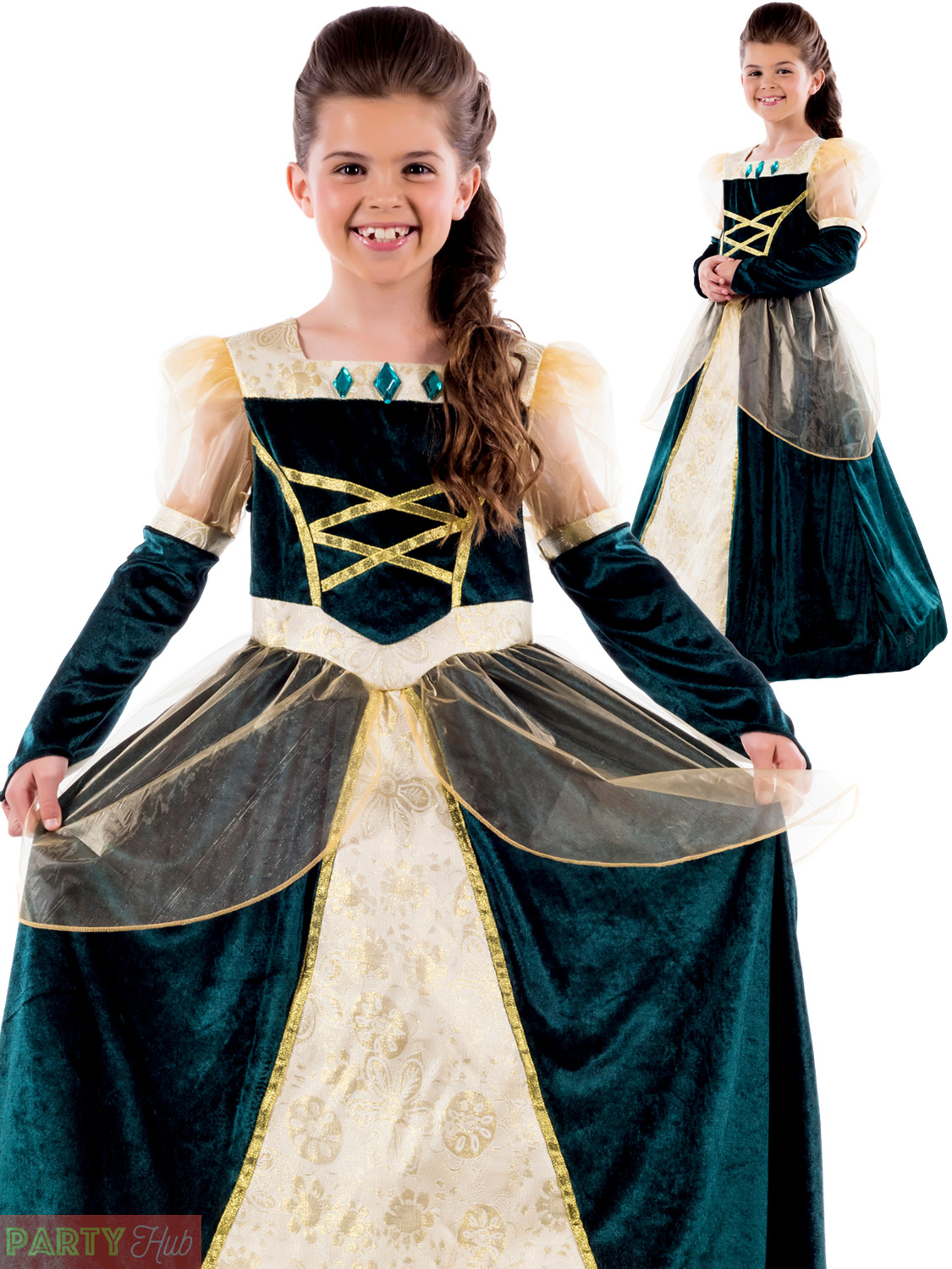 Girls Royal Ball Gown Costume Childs Queen Medieval Fancy Dress ...