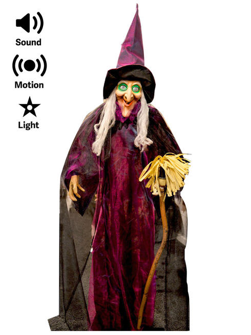 Animated Purple Witch with Broom Prop