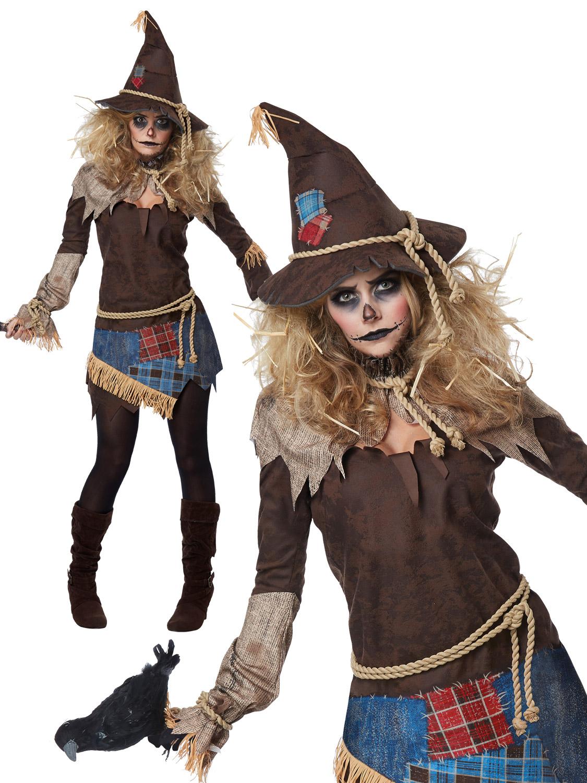 ladies creepy scarecrow costume zombie halloween fancy dress womens
