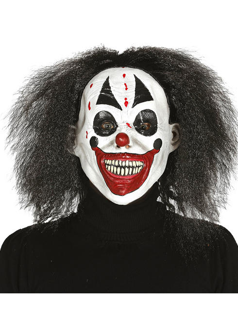 Adult's Latex Clown Mask with Hair