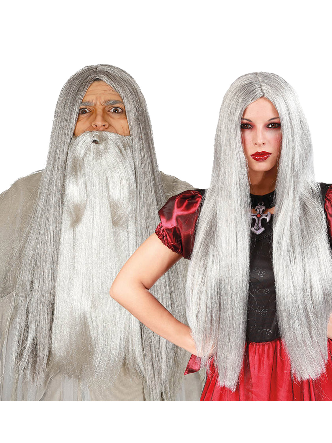 Adult S Long Grey Witch Wizard Wig All Accessories