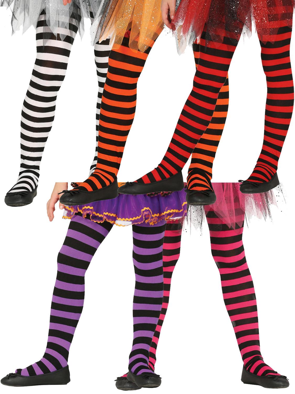 81bee8d4b2d96 Details about Girls Striped Tights Halloween Witch Pumpkin Devil Fancy Dress  Costume Accessory