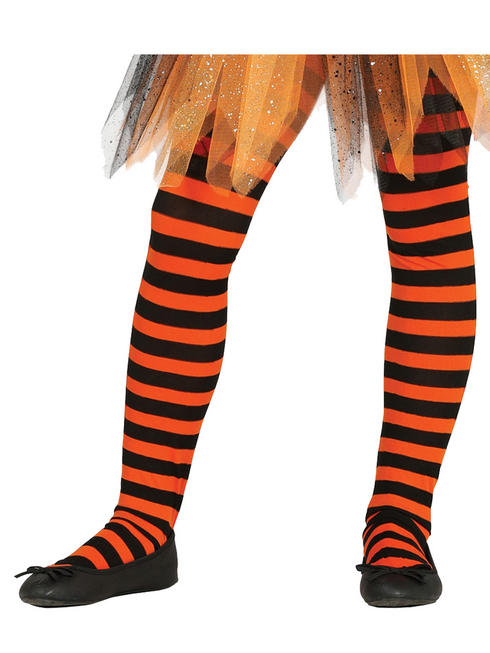 Child Striped Orange Tights