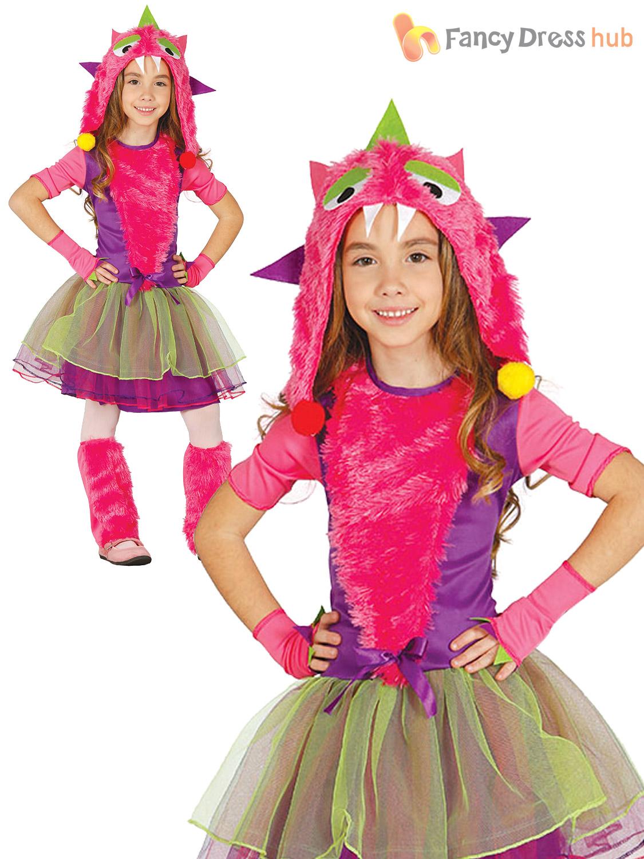 girls little pink monster costume halloween creature fancy dress