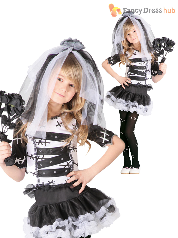 Girls-Monster-Bride-Of-Frankenstein-Costume-Halloween-Zombie-Corpse-Fancy-Dress thumbnail 4