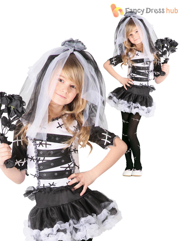 Girls-Monster-Bride-Of-Frankenstein-Costume-Halloween-Zombie-Corpse-Fancy-Dress thumbnail 5