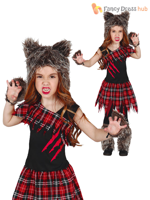 6b1d2e6bbb5 Girls Scottish Wolf Costume Childs Werewolf Halloween Fancy Dress ...