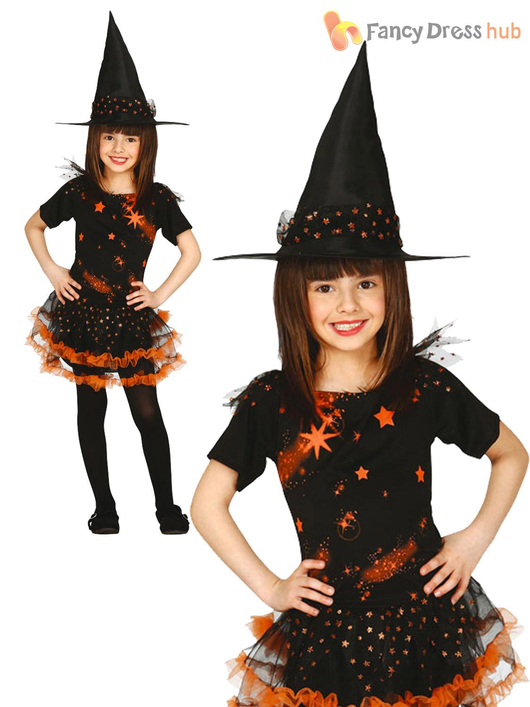 Girls-Black-Orange-Starry-Witch-Costume-Wicked-Halloween-  sc 1 st  eBay & Girls Black Orange Starry Witch Costume Wicked Halloween Fancy Dress ...