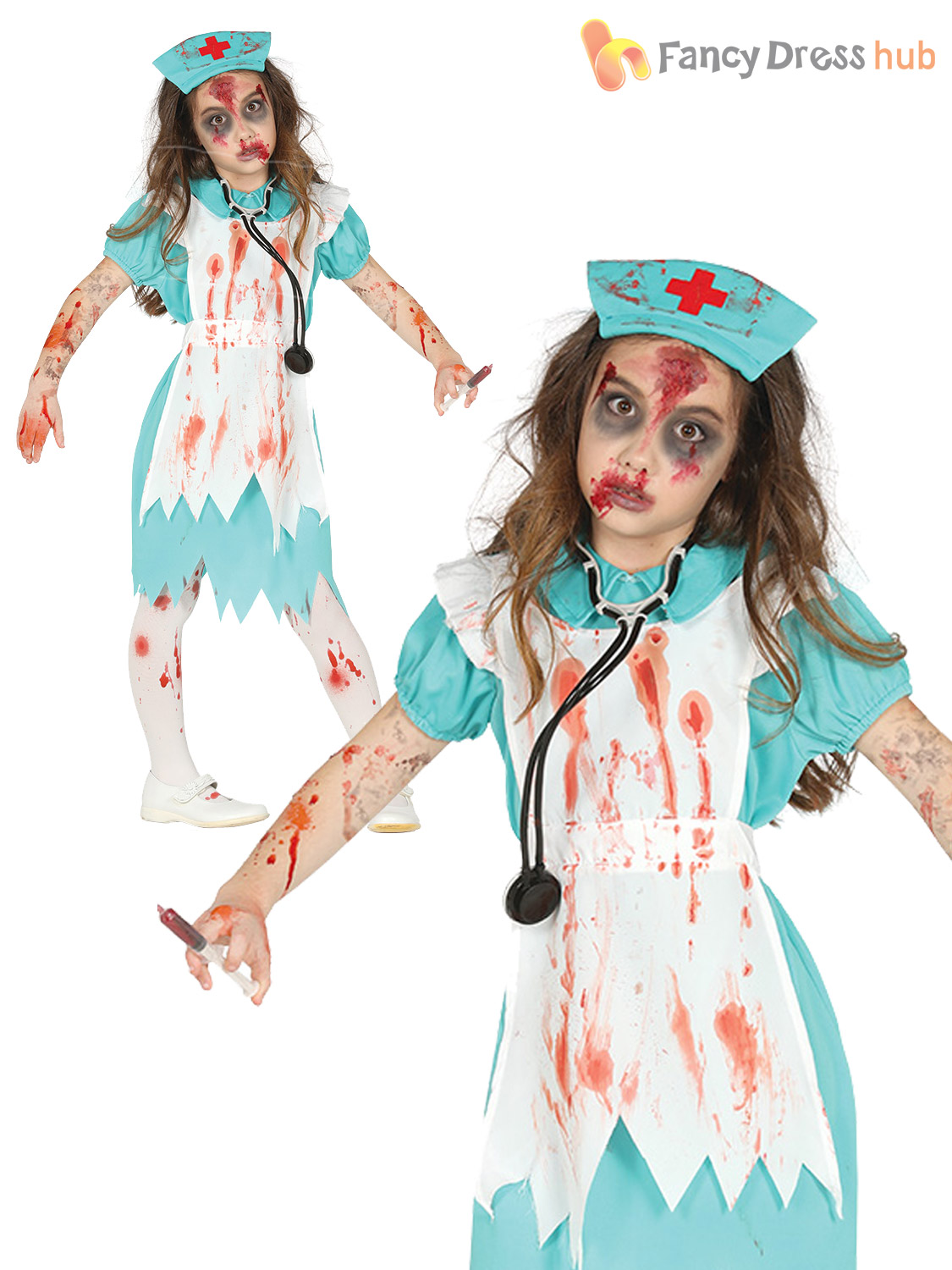 girls zombie nurse costume childs kids bloody halloween fancy dress