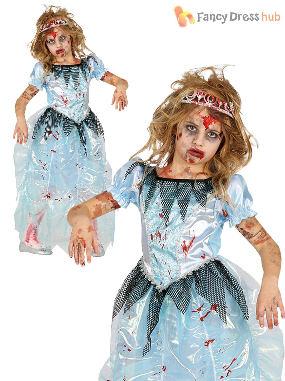 De Niñas Título Halloween Zombie Miedo Ver Original Vestido Childs Sangriento Princesa Traje Detalles Fantasía 8wONv0mn