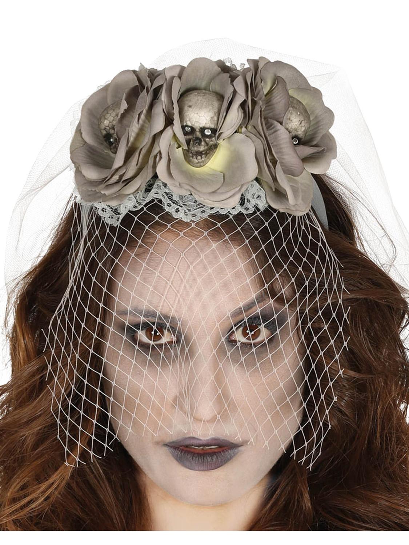 Zombie Bride Veil Flowers Halloween Adults Womens Fancy Dress Costume Accessory