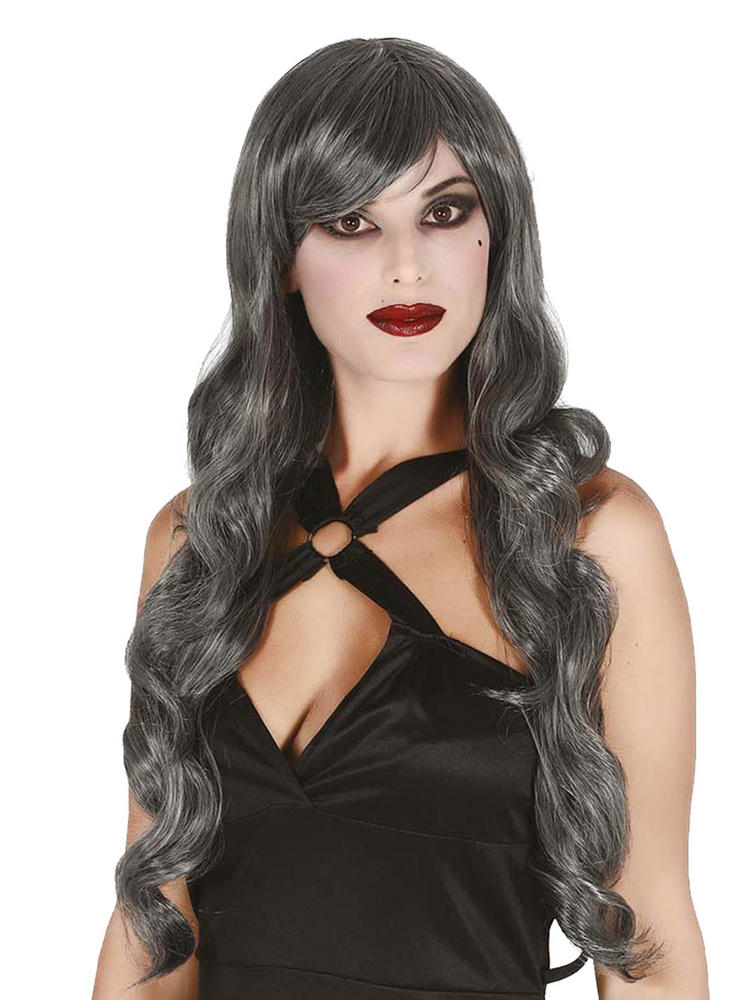 Ladies Large Grey Curly Wig