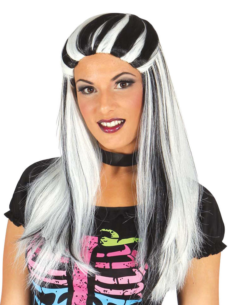 Ladies Black & White Streaked Witch Wig