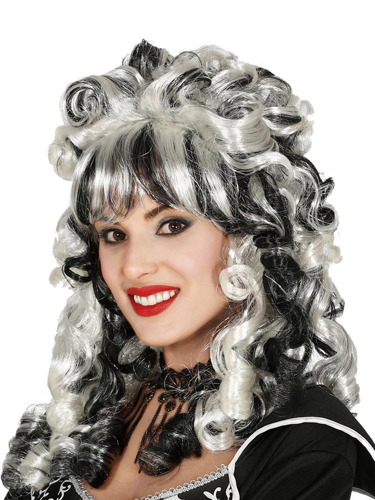 Ladies Black And White Curly Wig