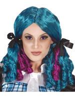 Ladies Blue Curly Doll Wig