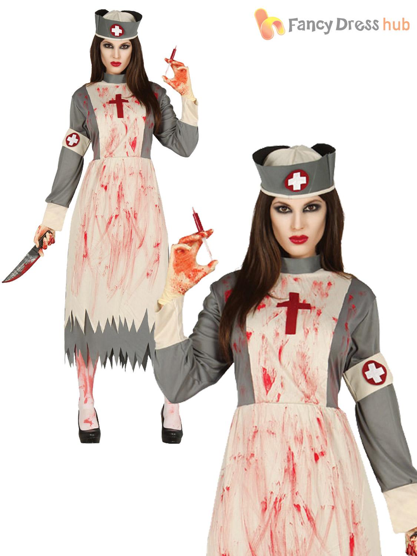 Ladies-Zombie-Victorian-Nurse-Costume-Ghost-Womens-Halloween-