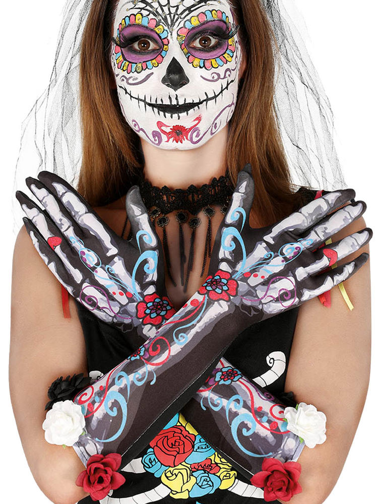 Ladies Skeleton Flower Gloves
