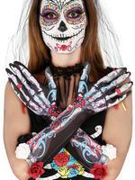 Ladies Skeleton Flower Gloves