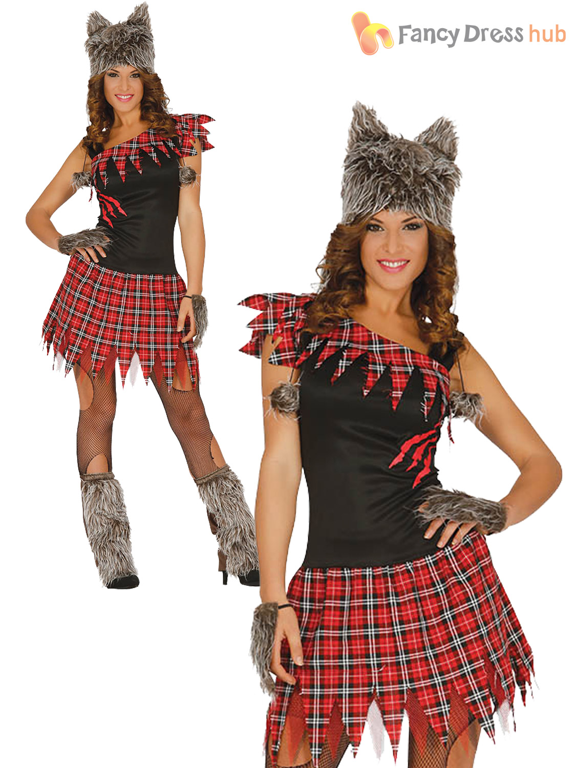ladies werewolf costume womens adult halloween wolf fancy dress