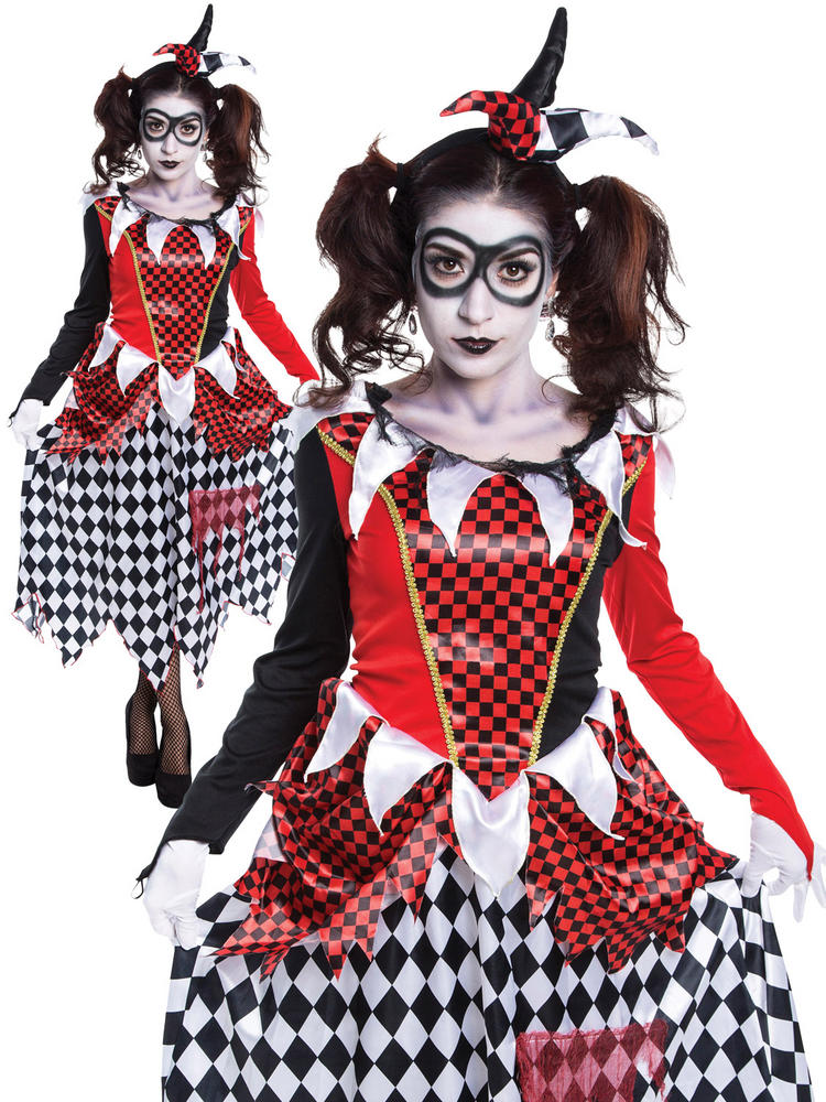 Ladies Harlequin Girl Scary Costume