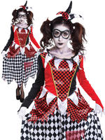 Ladies Harlequin Girl Scary Costume